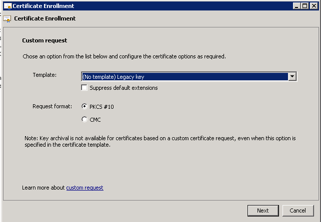 Manually generating the certificate request for lync web services select no template legacy key yelopaper Choice Image